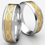 8mm Fish Pattern Bevel Edge Menand039s Womenand039s 2 Tone Yellow Gold Wedding Band Ring