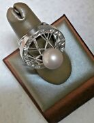 Antique 18k White Gold Ring With Rose Cut Diamonds And South Sea Pearl 11mm