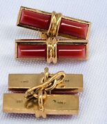 Red Coral And 18k Gold Cufflinks - - 2 Pieces Man Or Womanand039s