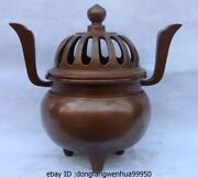 China Royal Palace Pure Red Copper Temple Buddhism Statue Incense Burner Censer