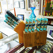 Blue Mountain Turquoise Boker 8 Piece Cutlery Set + 12 Chicago Steak Knives