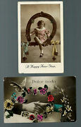 2 Vintage New Years Day Postcards - 1 From Italy Dolce Nodo Card Unsent