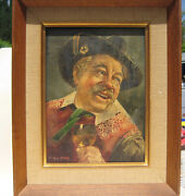 Tyrolean Peasant By Hans Gruber,an Nice Original Oil Painting 11.5lx 9.5w,rare