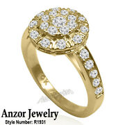 14k Solid Yellow Gold Genuine Diamond Russian Style Ring R1931