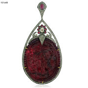 11.52tcw Ruby Diamond 18kt Gold 925 Sterling Silver Carving Pendant Gift Jewelry