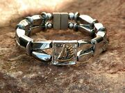 Menand039s Womans Double Silver Magnetic Hematite Nautical Ship Bracelet Anklet 2 Row