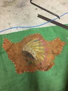 Old Vintage Native American Indian Chief Hand Painted On Leather Estate Find