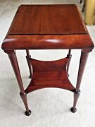 Antique Mahogany End Lamp Table Square Top Elegantly Shaped Legs And Lower Shelf