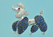 18k White Gold Poodle Dog W/diamond And Sapphire Pin Brooch / Pendant 13.4g Mint