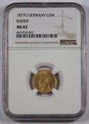 Germany Baden 1877 G 5 Mark Gold Coin Ngc Ms62 Choice Unc/bu Friedrich I Km266