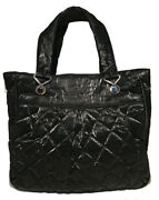 Black Shimmery Soft Quilted Leather Tote Bag