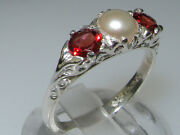 Luxury Solid 10k White Gold Natural Garnet And Cultured Pearl Trilogy Ring