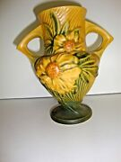 Vintage Pottery Roseville Pottery Usa Vase Clematis And Peony Flowers