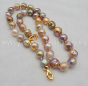 Genuine Natural 10-12mm South Sea Multi-color Baroque Pearl Necklaces 18and039and039 Aaa