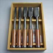Japanese Chisel Nomi Thickness Tasai Luxury Yamagen Red Handle Set Of 5 With Box