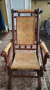 Antique Eastlake Victorian Turned Walnut Gold Material Rocking Chair
