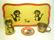 Special Vintage Tin Toy Set Tray Can Cup Plate Cat Mouse