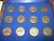 The Medallic History Of The Jewish People In Our Time , 12 Bronze Medals , Rare