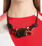 134 Marni 'scribbel' Genuine Horn And Leather Necklace 940 Soldout