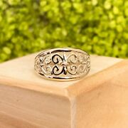 14kt Yellow Gold Fleur De Lis Cut Out Style Design Dome Cigar Band Ring New 7