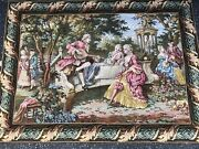 Large Vintage French Wall Hanging Tapestry 64 X 47 Inches