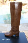 Brown Quilted Heel Signed Knee High Boots 37 Nib 1700