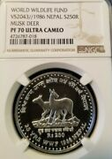 1986 Nepal Silver 250 Rupees Musk Deer Ngc Pf 70 Ultra Cameo Scarce Perfection