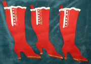3 Awesome Antique Vintage Red Felt Victorian Boot Christmas Stockings