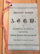 1891 Dance Card Ancient Order Of United Workmen Bissell Hall Manchester Ct