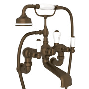 Rohl Perrin And Rowe Edwardian Wall Mount Tub Filler W/ Hand Shower English Bronze