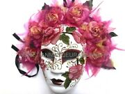 Full Face Womens Dia De Los Muertos Mask Embroidery Flower Dressup Costume Party