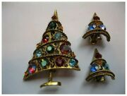 Vintage Signed Weiss Christmas Tree Pin/broach And Clip Earrings Book Piece