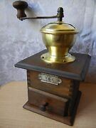 Antique P And D Wood Tin Hopper Coffee Grinder Table Box Coffee Mill Peter Dienes