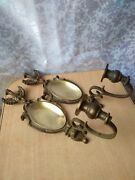 Set Vintage Wall Candle Candlestick Holders 2 Decorative Bronze Sconce