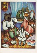 Rare Anthropomorphic Fox Bear And Badger Parrot Old Russian Soviet Postcard
