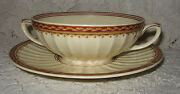 Htf Crown Ducal 2-handled Cream Soup Bowl And Under Plate Ambassador Pattern