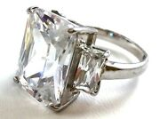 Emerald Cut Crystal Cubic Zirconia Size 8.5 Statement Ring .925 Silver Cz