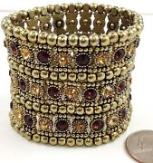 Gold Brown Bronze 3 Row Crystals Beaded Stretch Big Statement New Bracelet 2 H
