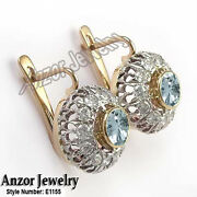 Russian Style Diamond And Aquamarine Earrings 14k Rose And White Gold 585