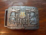 Rare Antique Aztec Mexico Custom Sterling Silver 10k Gold Western Belt Buckle