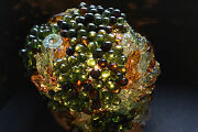 Vintage French Glass Shade Beaded Flower Lamp