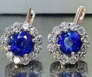14k White Rose Gold Natural Blue Sapphire Earrings 4.92ct Round Shape
