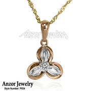 14k Solid Rose And White Genuine Diamond Russian Styles Pendant With Chain.