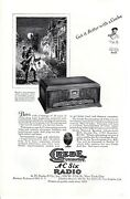 Vintage Print Ad 1928 Grebe Synchrophase Ac Six Radio Town Crier Official Art Ad
