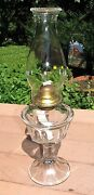 Antique Banner Panda Clear Glass Pedestal Footed Oil Lamp Beaded Chimney 18 120