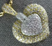 Estate Large 1.90ct Diamond 18kt Two Tone Gold 3d Pave Puff Heart Love Pendant