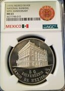 1975 Mexico Silver Medal National Banking 50th Anniversary Ngc Ms 63