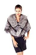 Natural Real Silver Fox Fur Collar Stole Shawl Wrap Cape For Women
