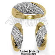 Russian Style Pave Diamond Jewelry 14k Solid Gold Diamond Ring And Earrings Set