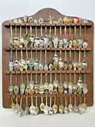64 Pieces Souvenirs Spoons From All Around The World W/ Wood Wall Display Case